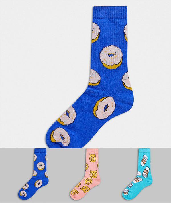 ASOS DESIGN sport sock 3-pack with baked treats design-Multi