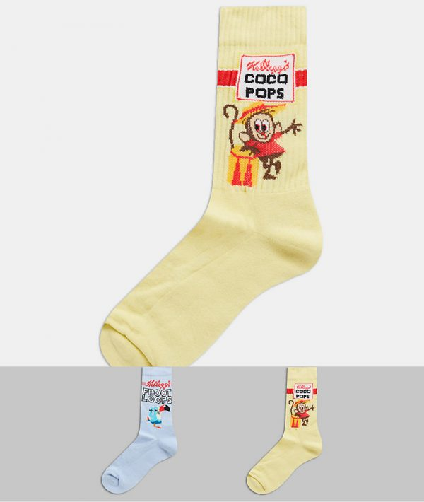 ASOS DESIGN sport socks with Kelloggs cereal 2 pack-Multi