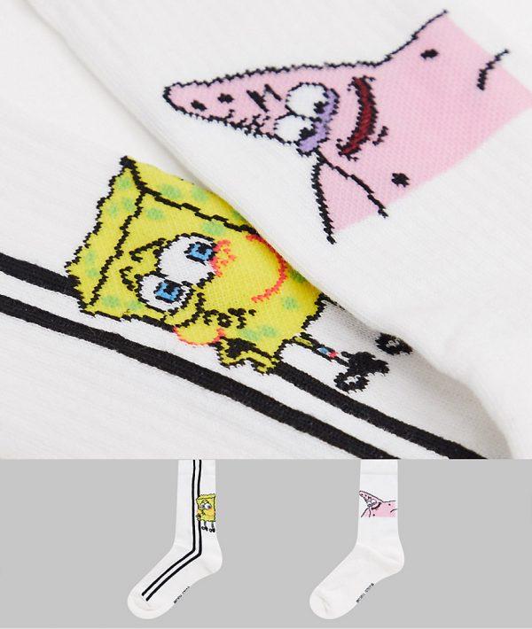 ASOS DESIGN sport socks with Spongebob & Patrick design 2 pack-White