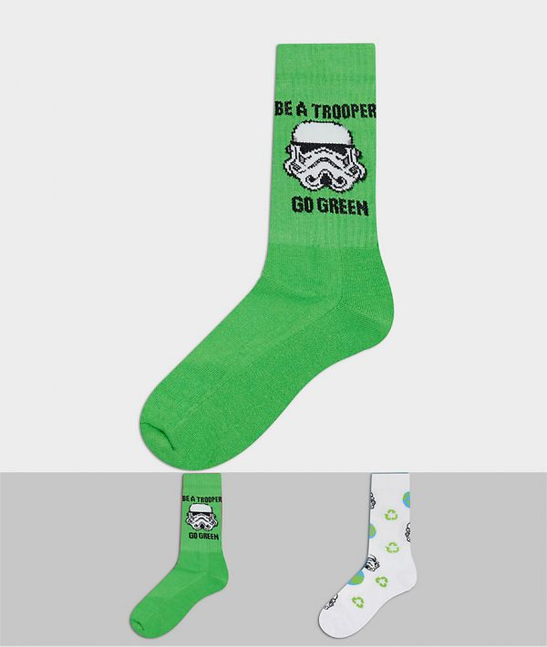 ASOS DESIGN sport socks with Stormtrooper design 2 pack-Green