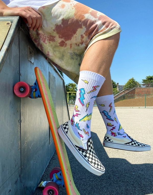 ASOS DESIGN sport socks with graphic lightning design-Multi