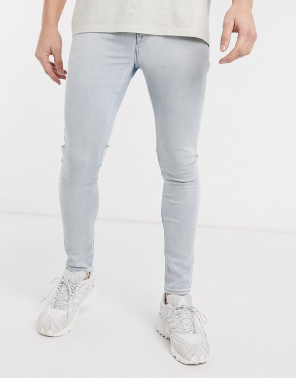ASOS DESIGN spray on jeans in power stretch in bleach wash blue