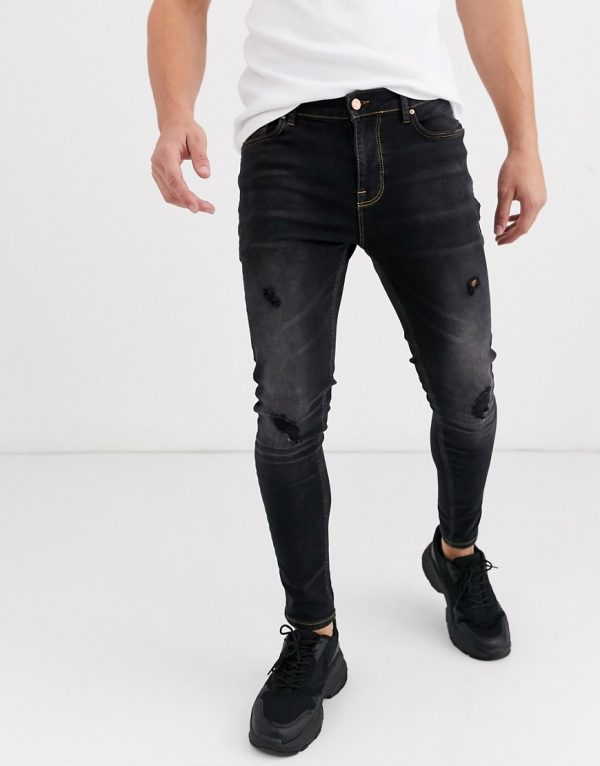 ASOS DESIGN spray on jeans in power stretch with abrasions in washed black