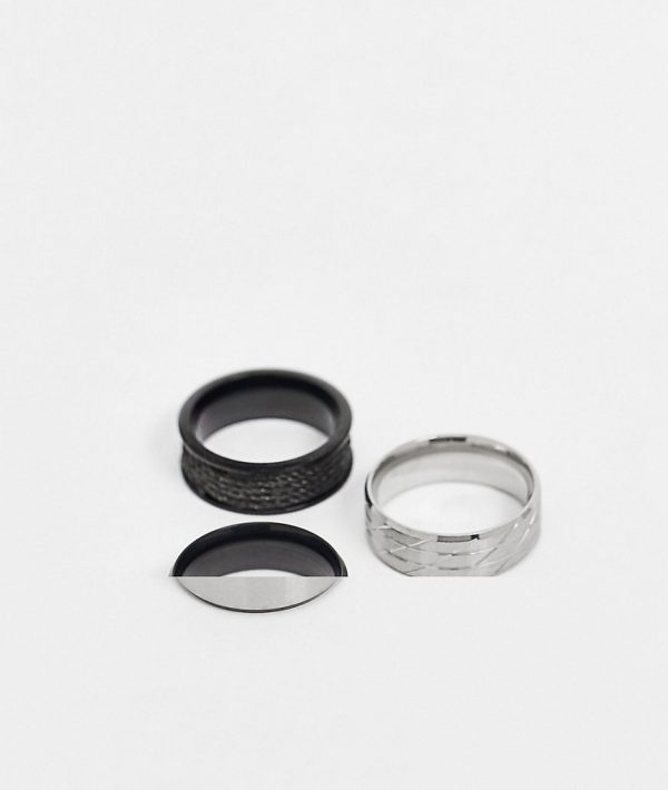 ASOS DESIGN stainless steel band ring pack in mixed plate-Multi