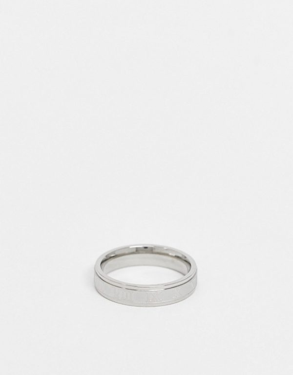 ASOS DESIGN stainless steel band ring with roman numerals design in silver tone