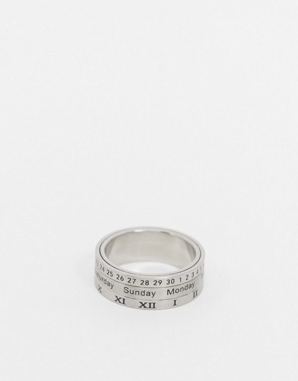ASOS DESIGN stainless steel ring with spinning movement in silver tone