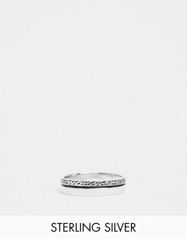 ASOS DESIGN sterling silver band ring with textured design in burnished silver