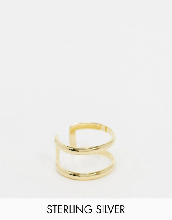 ASOS DESIGN sterling silver double band ring in 14k gold plate