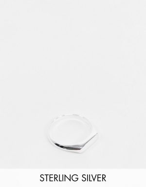 ASOS DESIGN sterling silver minimal signet ring in silver
