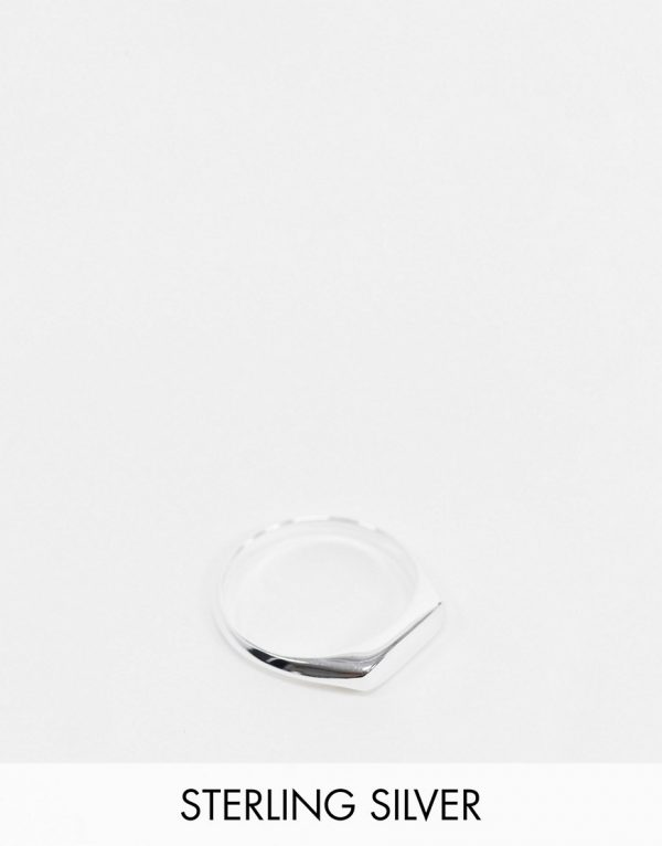 ASOS DESIGN sterling silver minimal signet ring in silver