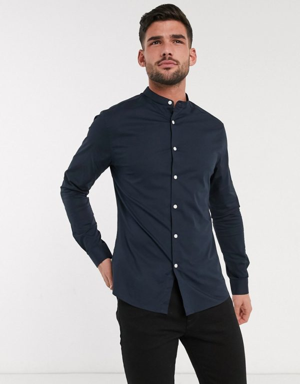 ASOS DESIGN stretch skinny fit shirt in navy with grandad collar