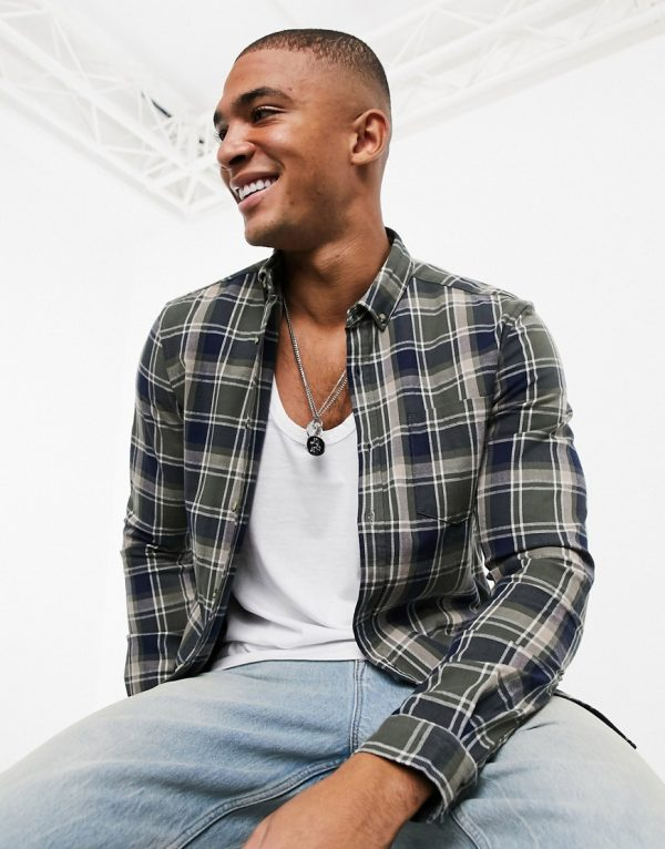 ASOS DESIGN stretch slim check shirt in khaki and navy-Green