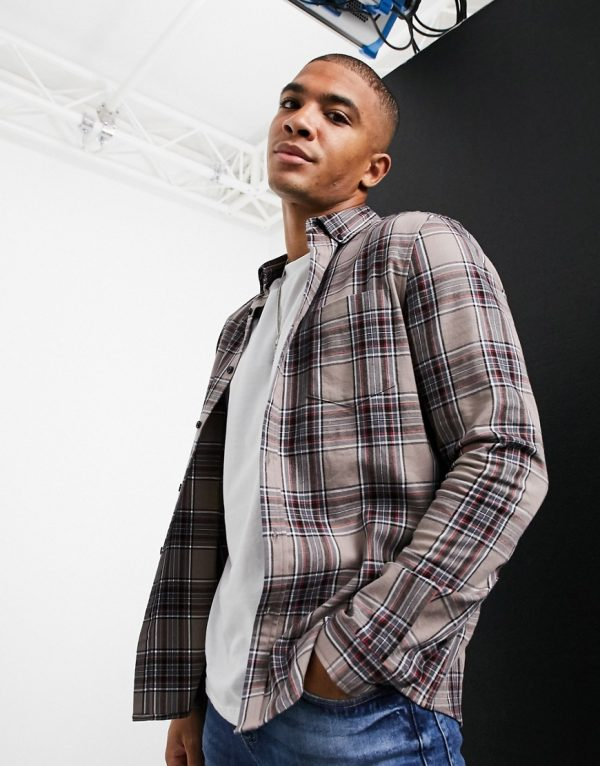 ASOS DESIGN stretch slim check shirt in stone and black-Beige