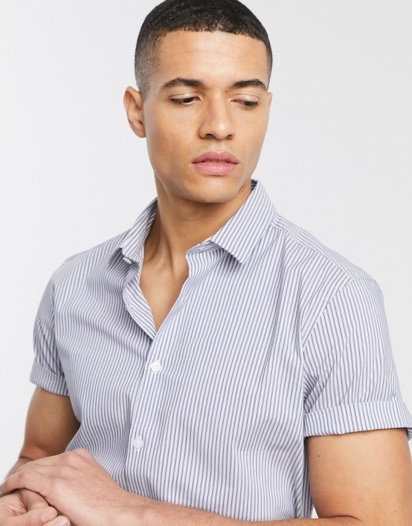 ASOS DESIGN stretch slim fit stripe work shirt in navy