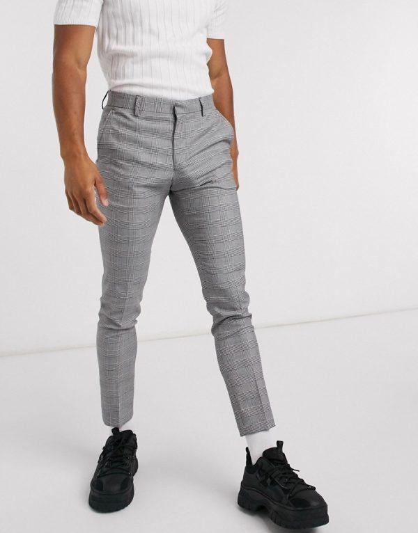 ASOS DESIGN super skinny smart pants in check-Black