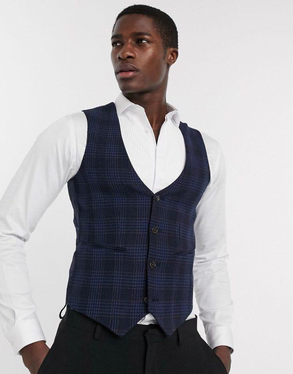ASOS DESIGN super skinny suit vest in birdseye check in navy