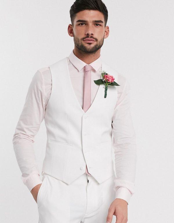 ASOS DESIGN super skinny suit vest in white