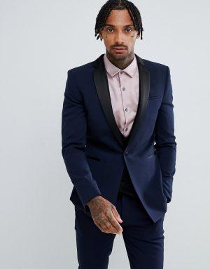 ASOS DESIGN super skinny tuxedo suit jacket in navy