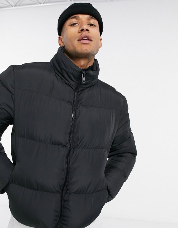 ASOS DESIGN sustainable cropped puffer jacket in black