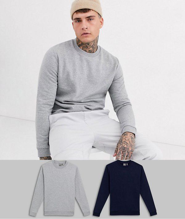ASOS DESIGN sweatshirt 2 pack navy / gray marl-Multi