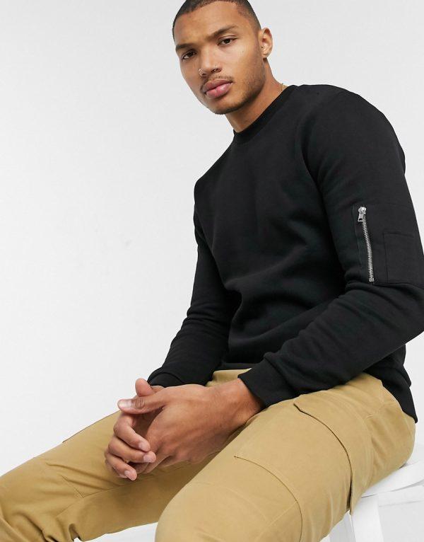 ASOS DESIGN sweatshirt in black with MA1 pocket