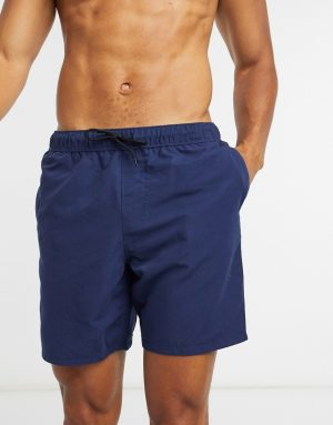 ASOS DESIGN swim shorts in navy mid length