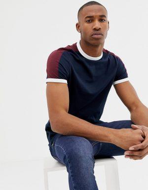 ASOS DESIGN t-shirt with contrast shoulder panel in navy