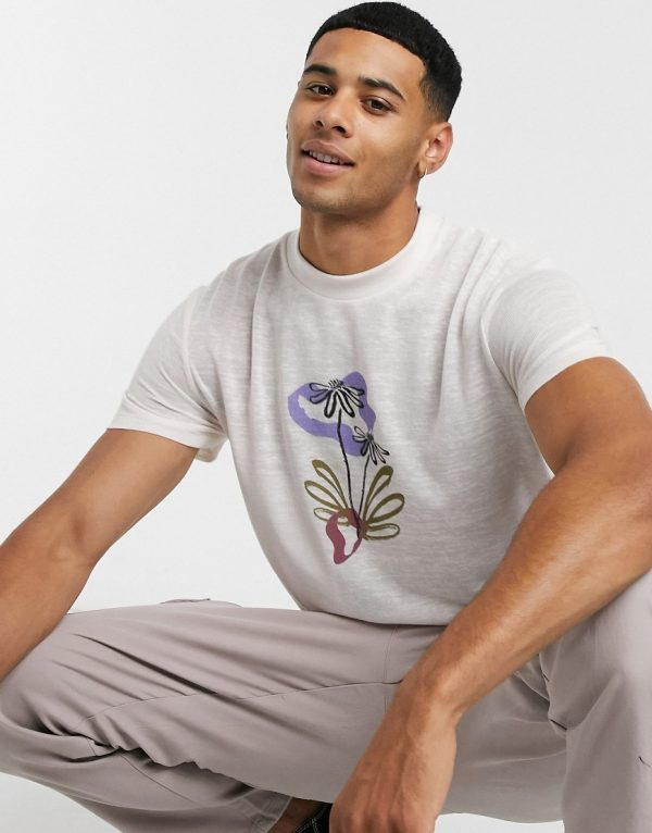 ASOS DESIGN t-shirt with front flower print in linen look-White