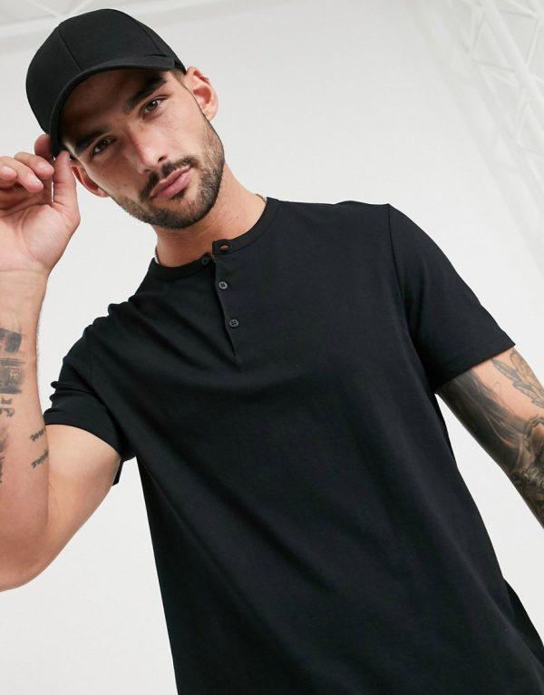 ASOS DESIGN t-shirt with grandad neck in black