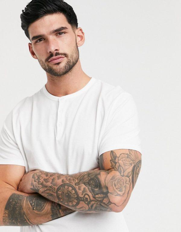 ASOS DESIGN t-shirt with grandad neck in white