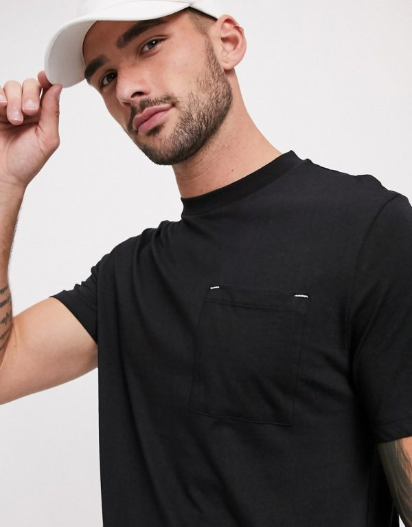 ASOS DESIGN t-shirt with pocket in black with white stitch detail