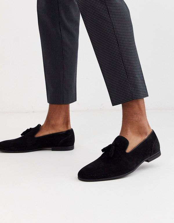 ASOS DESIGN tassel loafers in black faux suede
