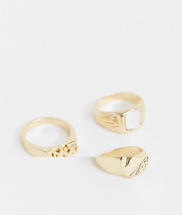 ASOS DESIGN throwback ring pack in shiny gold tone