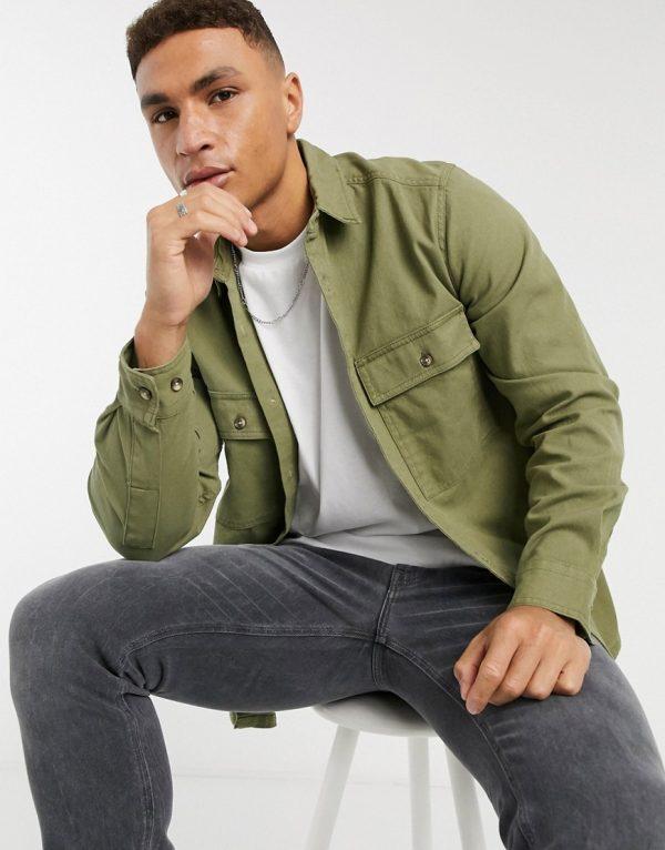 ASOS DESIGN twill shacket in khaki-Green
