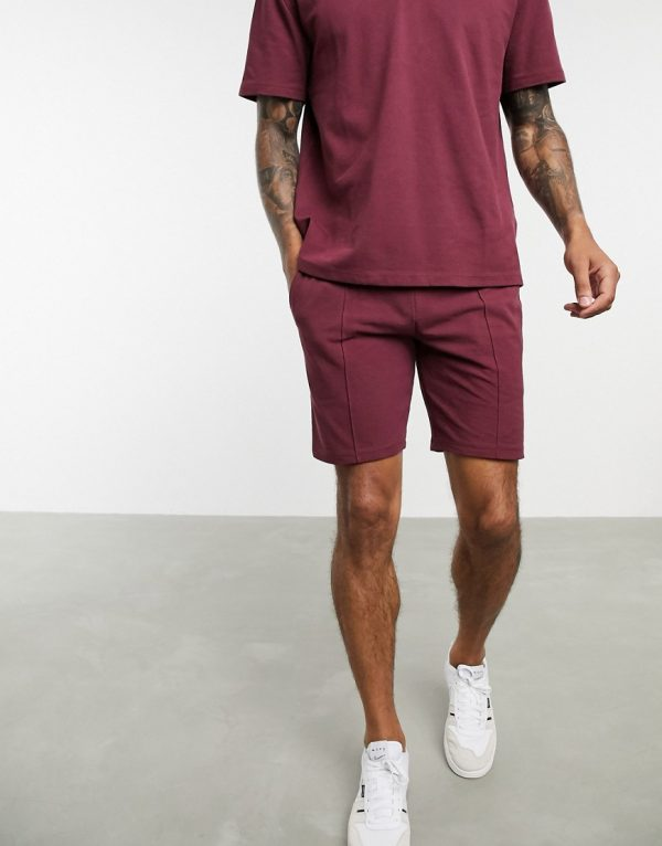ASOS DESIGN two-piece jersey skinny shorts in burgundy pique with pin tucks-Red