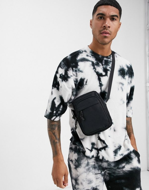 ASOS DESIGN two-piece oversized t-shirt with half sleeve with monochrome towelling tie dye-Multi