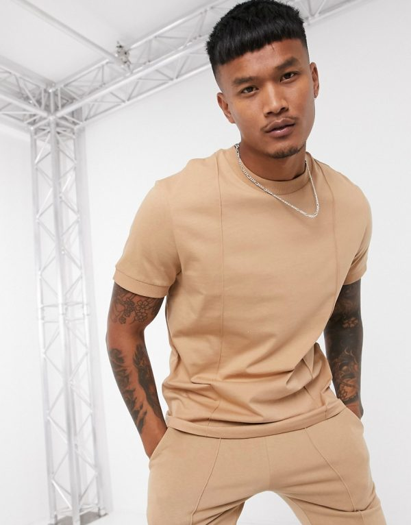 ASOS DESIGN two-piece t-shirt with pin tucks in tan
