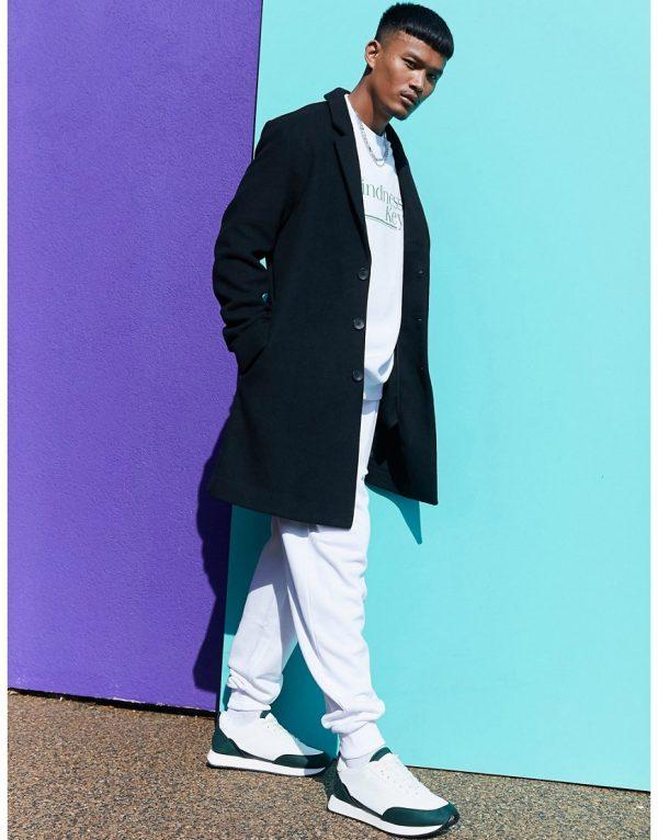 ASOS DESIGN unlined wool mix overcoat in black