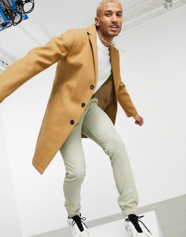 ASOS DESIGN unlined wool mix overcoat in camel-Brown