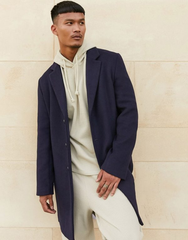 ASOS DESIGN unlined wool mix overcoat in navy