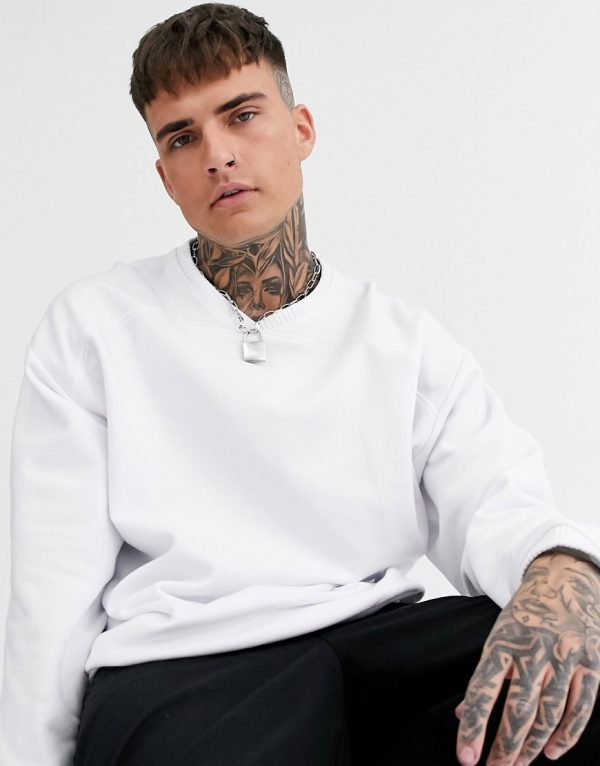 ASOS DESIGN v neck sweatshirt in white