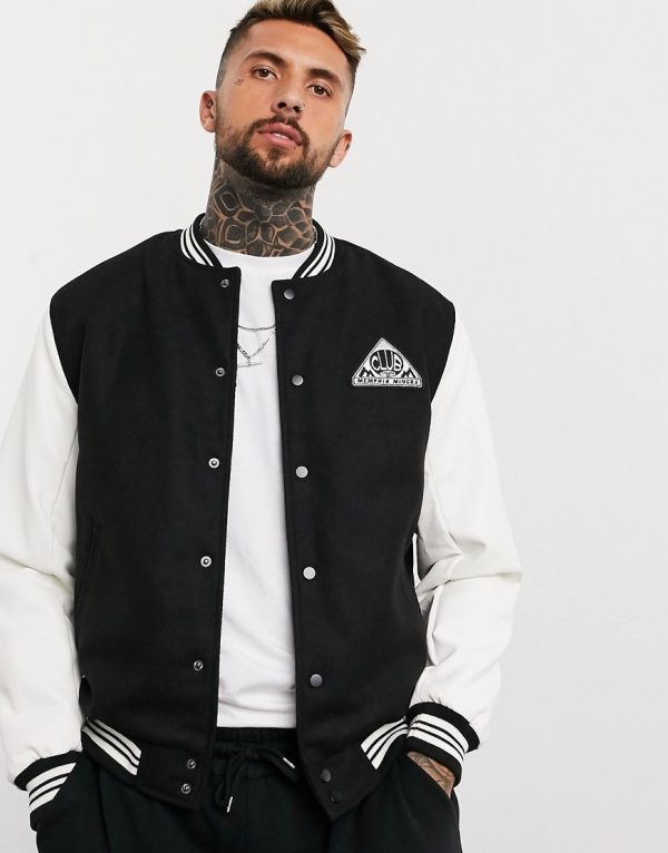 ASOS DESIGN varsity bomber jacket with faux-leather sleeves in black and white