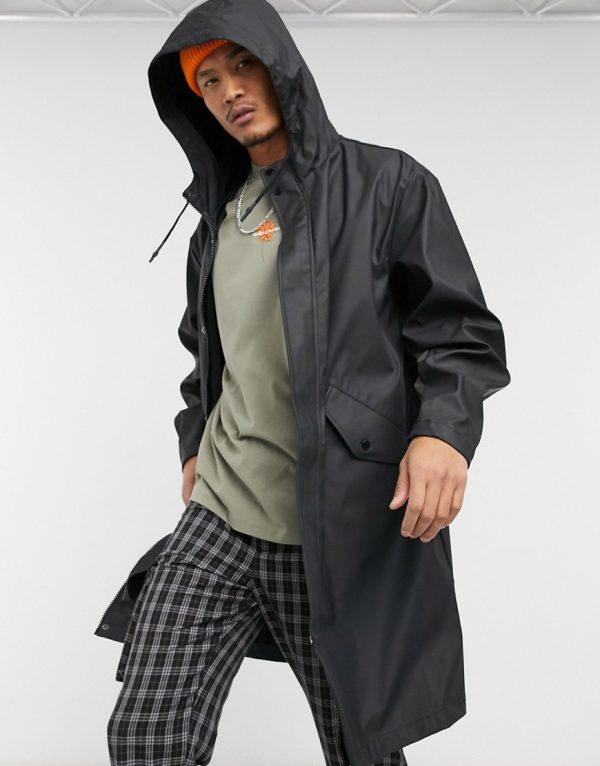ASOS DESIGN water resistant parka jacket in black