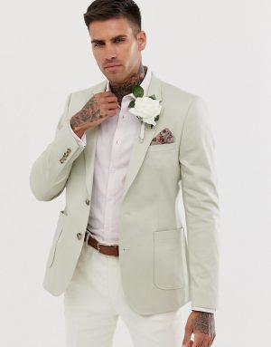ASOS DESIGN wedding skinny blazer in stone cotton