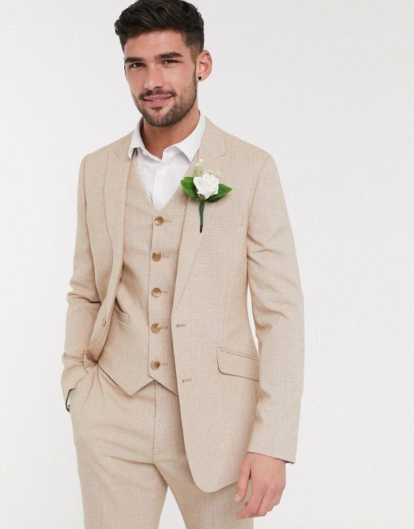 ASOS DESIGN wedding skinny suit jacket in crosshatch in camel-Beige