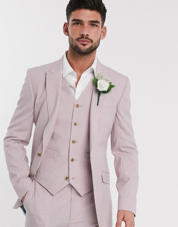ASOS DESIGN wedding skinny suit jacket in crosshatch in rose pink