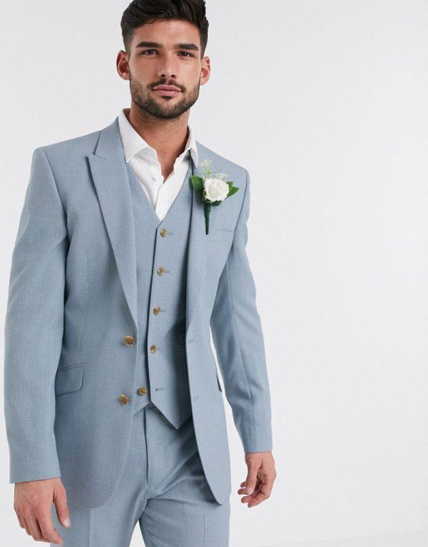 ASOS DESIGN wedding skinny suit jacket in crosshatch in soft blue