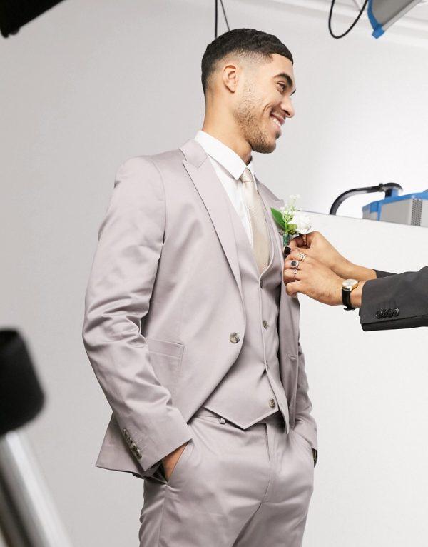 ASOS DESIGN wedding skinny suit jacket in gray stretch cotton