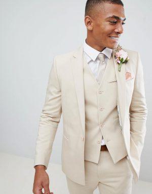 ASOS DESIGN wedding skinny suit jacket with square hem in stone
