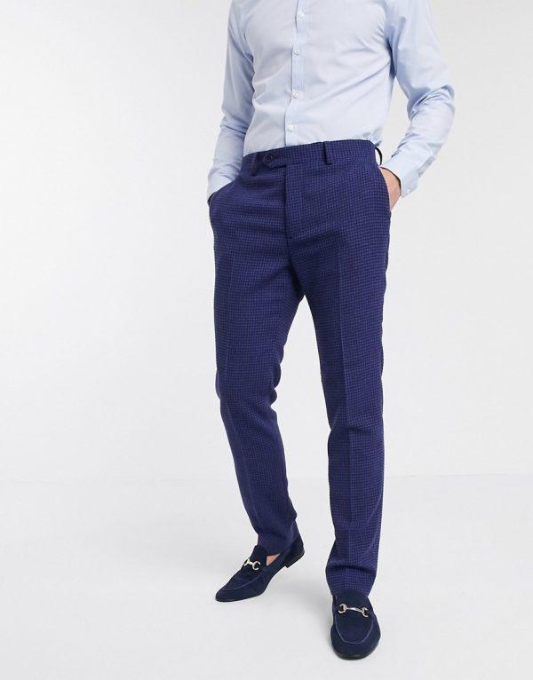 ASOS DESIGN wedding skinny suit pants in blue wool blend micro houndstooth